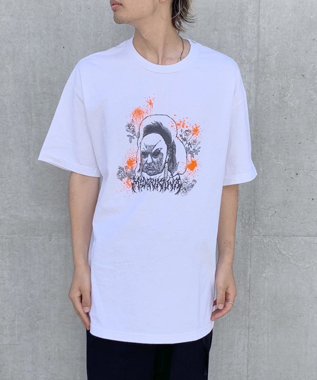 Midorikawa paranoid s/s tee orange × white