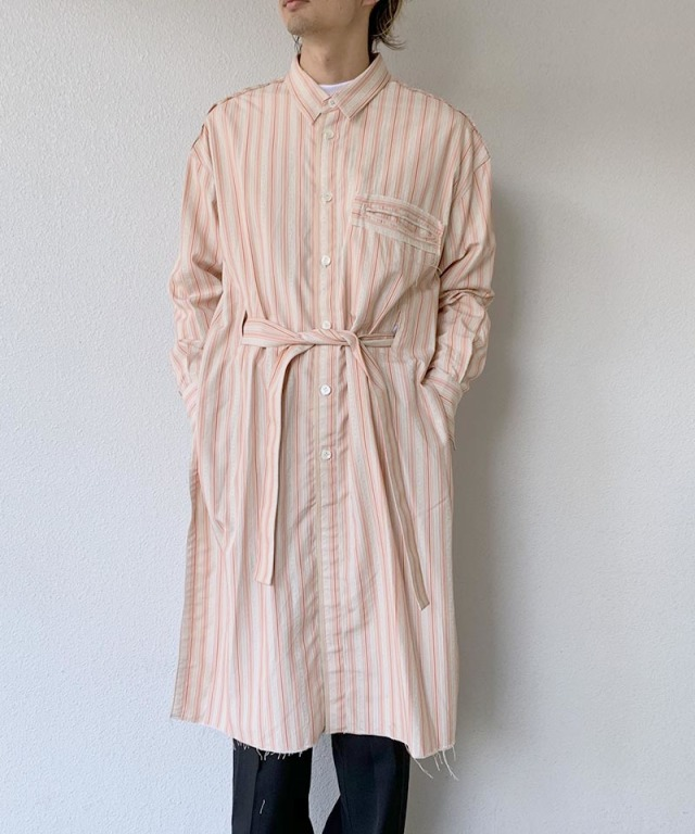 Midorikawa SILK DOBBY LONG SHIRT ORANGE