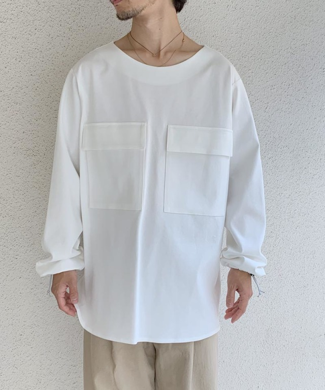 tence boat neck basque smog blanc