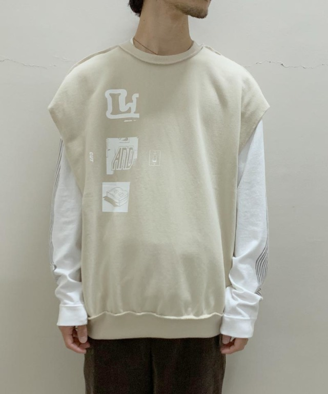 LAUGH&BE CUT OFF N/S SWEAT Beige