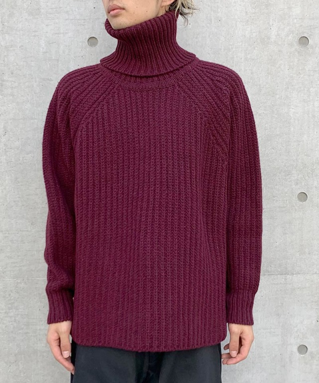 O project KNITTED TURTLE NECK WINE