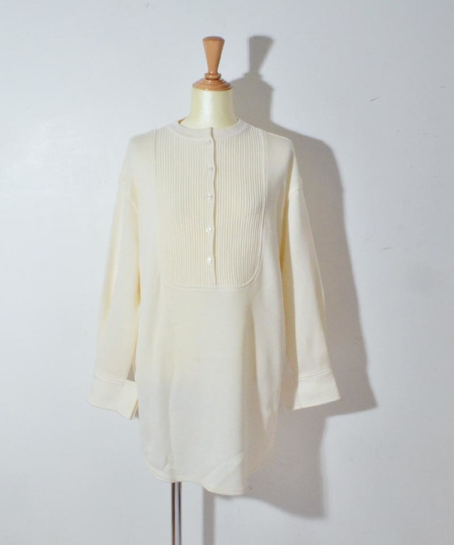 TAN BOILED PINTUCK BLOUSE white