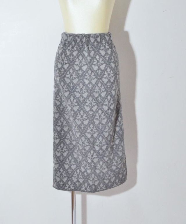 TAN DAMASK PATTERN SKIRT gray
