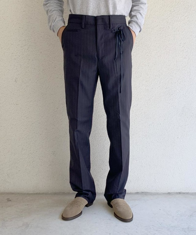 Midorikawa slacks pants navy stripe