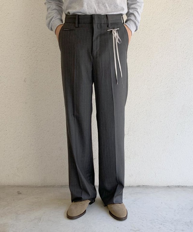 Midorikawa Loro Piana WIDE TROUSERS GREY STRIPE