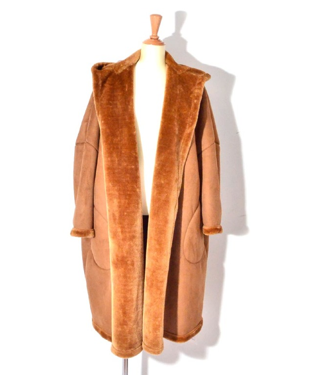 VACHEMENT HOODED FAKE MOUTON COAT BROWN