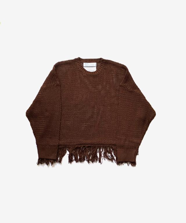 DAIRIKU Pullover Fringe Net Knit BROWN