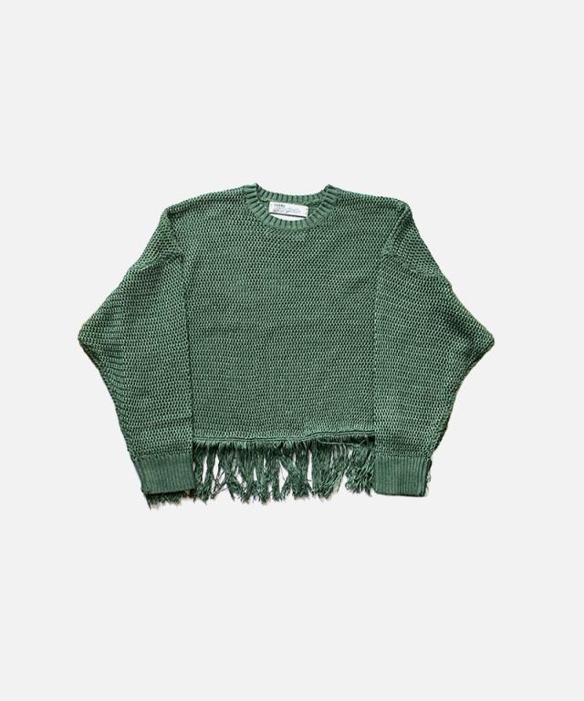 DAIRIKU Pullover Fringe Net Knit GREEN