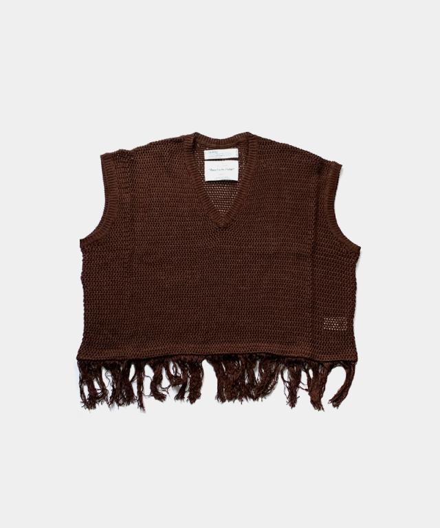 DAIRIKU Pullover Fringe Net Knit Vest BROWN