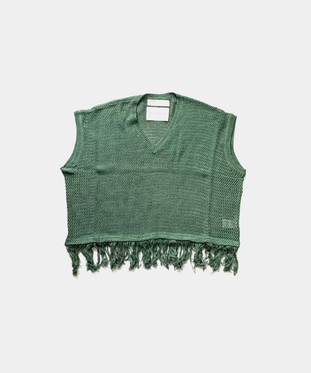 DAIRIKU Pullover Fringe Net Knit Vest GREEN