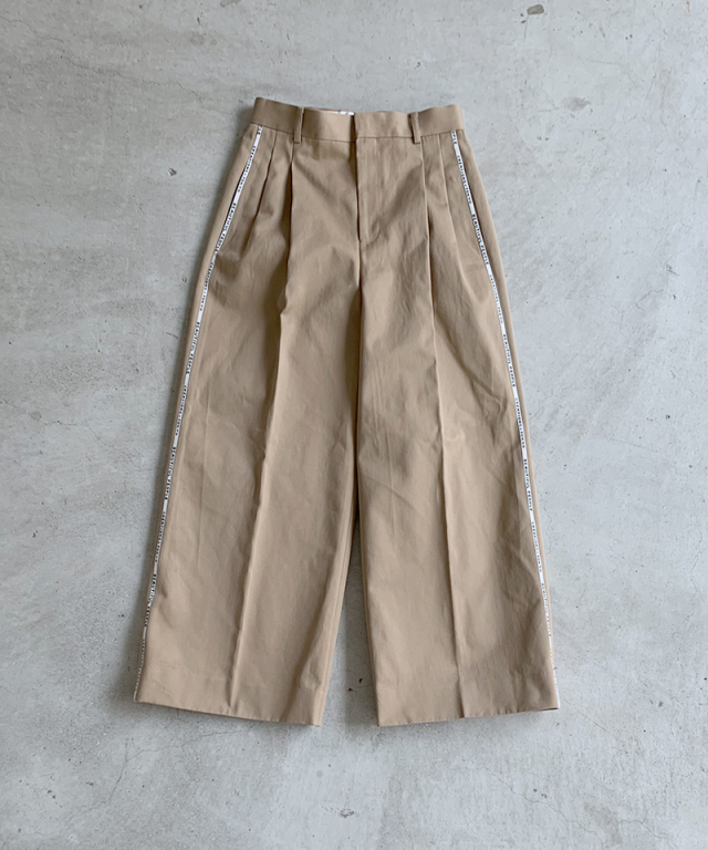 beautiful people selvedge logo chino two tuck wide pants beige