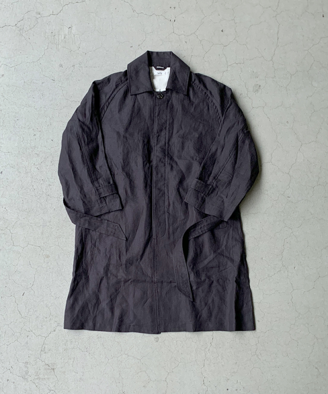 saby LINEN TYPE01 COAT BLACK