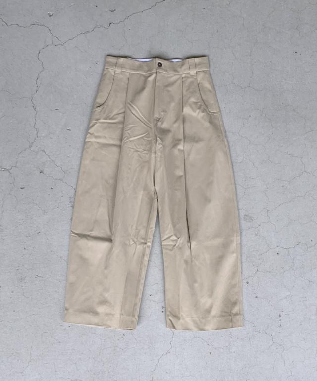 STUDIO NICHOLSON PEACHED COTTON TWILL VOLUME PLEAT PANTS TAN