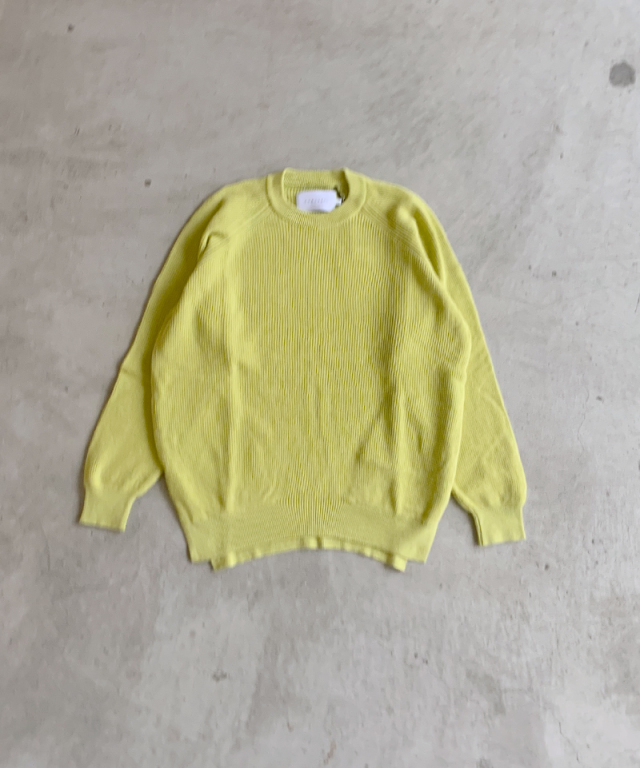 CURLY ASSEMBLY CREW KNIT OPTIC YELLOW