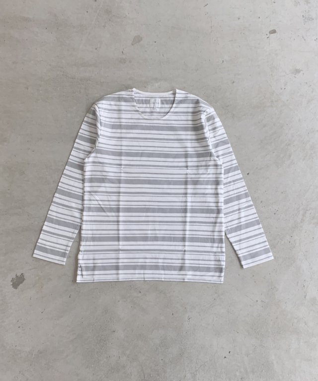 CURLY BRIGHT LS BORDER TEE WHITE/GRAY