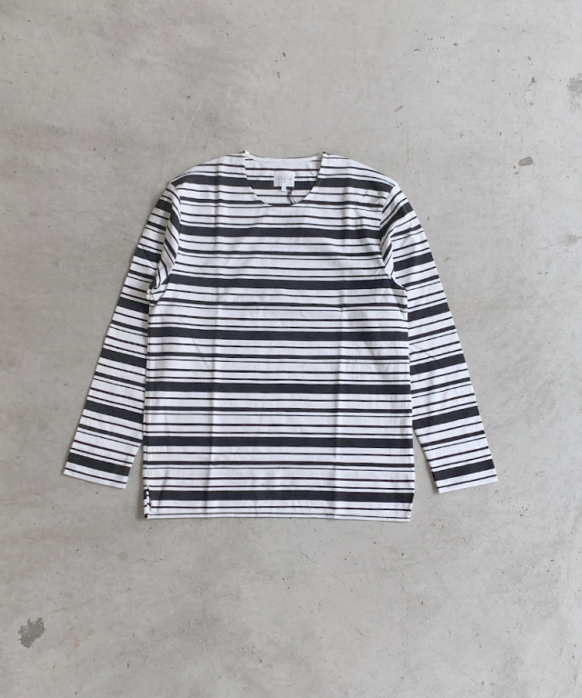 CURLY BRIGHT LS BORDER TEE WHITE/BLACK