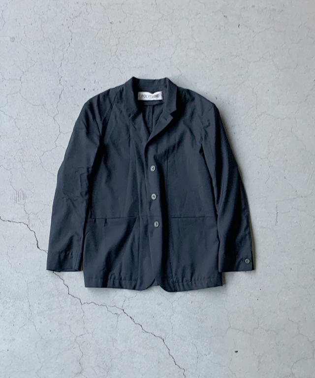 POLYPLOID STAND COLLAR SUIT JACKET C BLACK