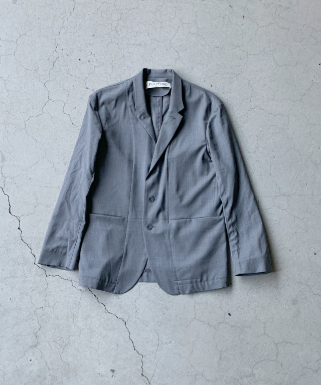 POLYPLOID STAND COLLAR SUIT JACKET C GRAY