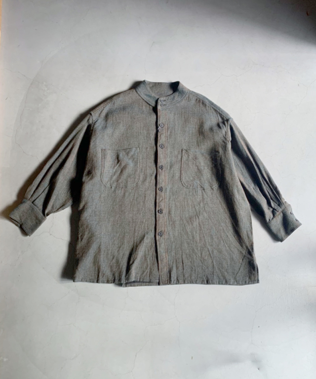 HOMELESS TAILOR STAND COLLAR SHIRT MIX GREEN
