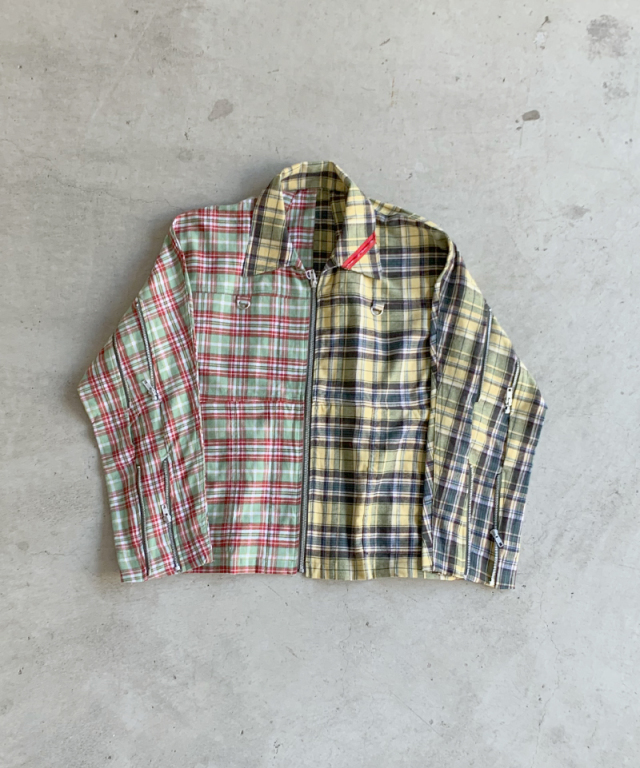 PHINGERIN ZIP RUN JACKET PATCH A:GREEN??YELLOW PLAID