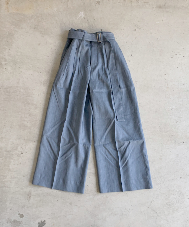beautiful people natural dye linen threetuck wide pants blue