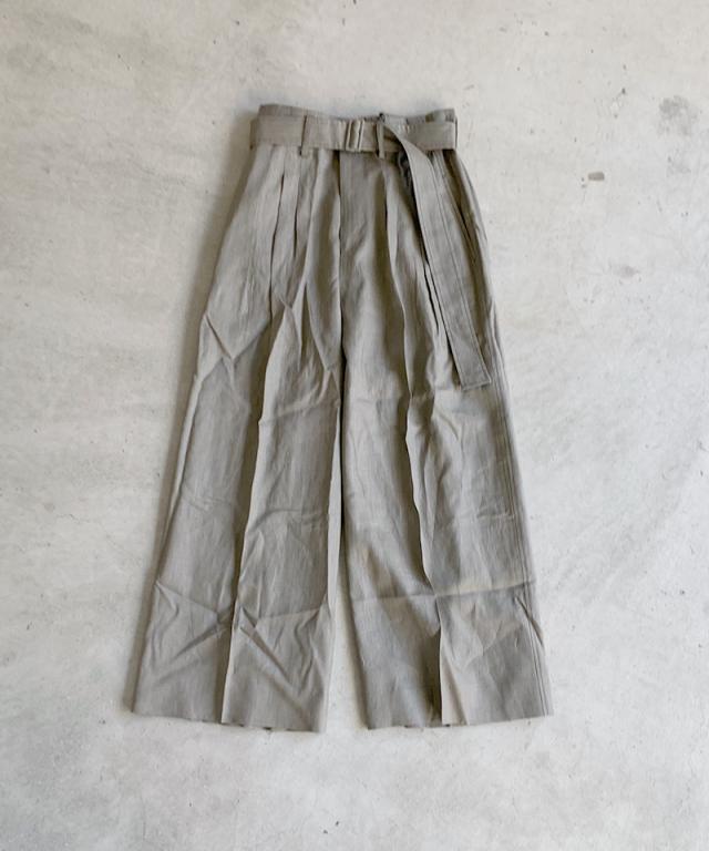 beautiful people natural dye linen threetuck wide pants bronze