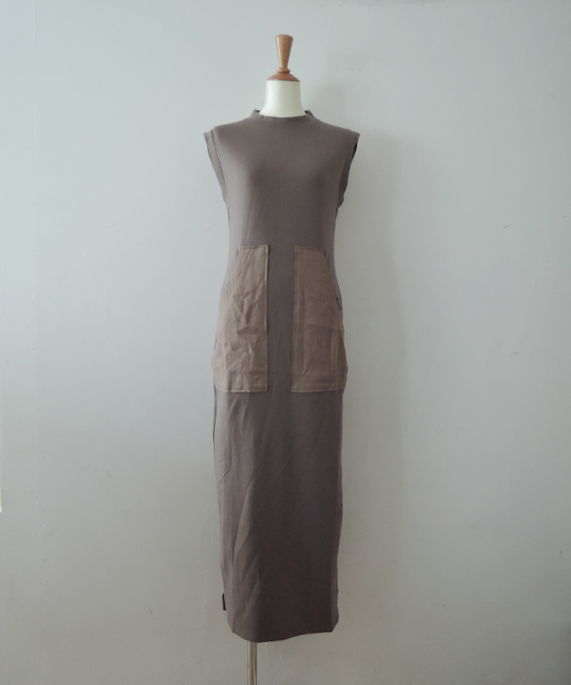 PHOTOCOPIEU PENCIL JERSEY DRESS KHAKI