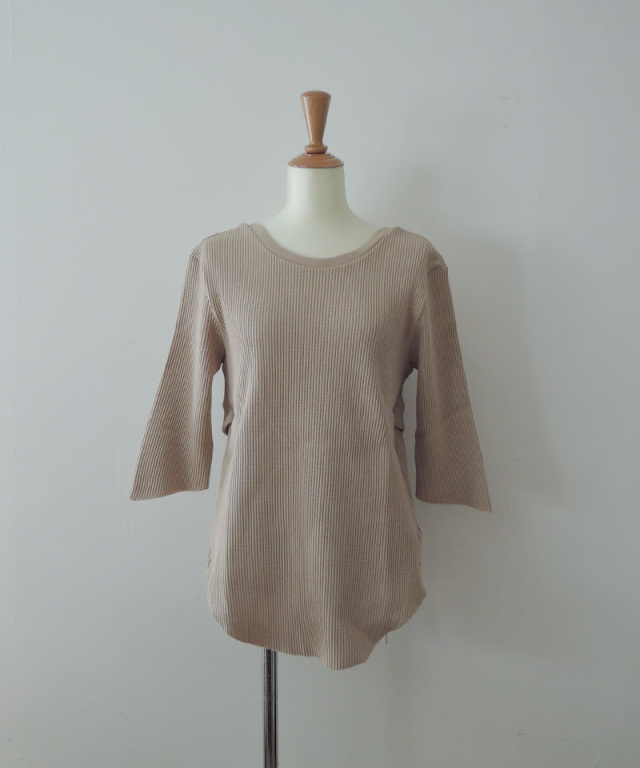 Uhr Rib Belted Waffle Tee Beige
