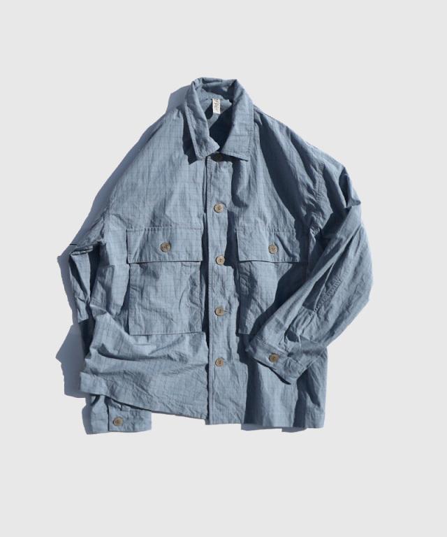 HEALTH shirt jacket lt.blue??blue check