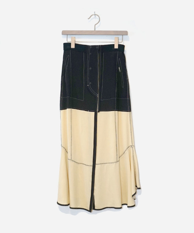 PHOTOCOPIEU BICOLOR SKIRT BLACK MIMOZA