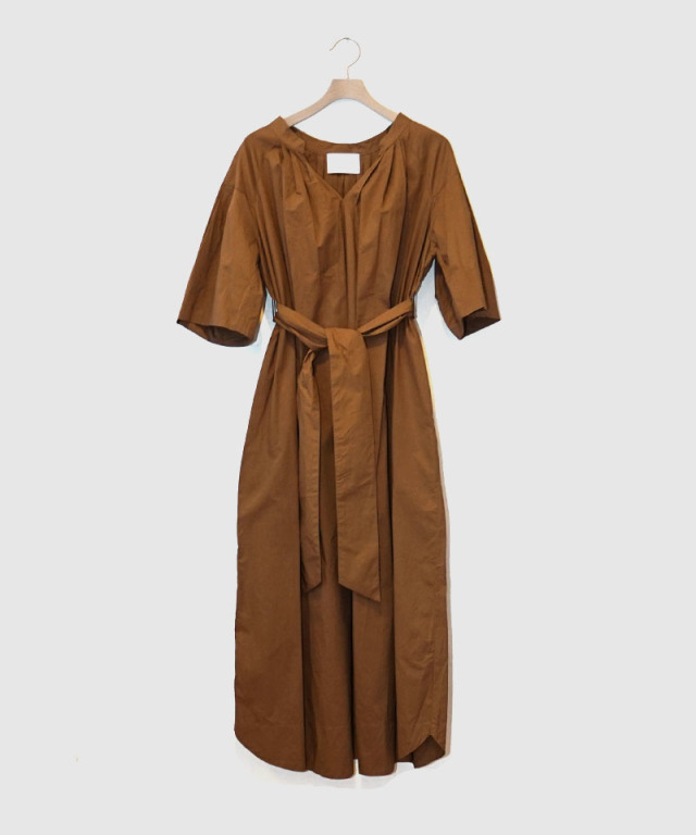 KALANCHOE POPLIN TUCK DRESS BROWN