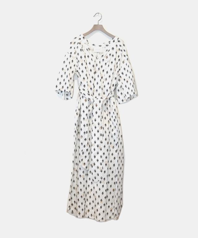 KALANCHOE BLOCK PRINT TUCK DRESS WHITE