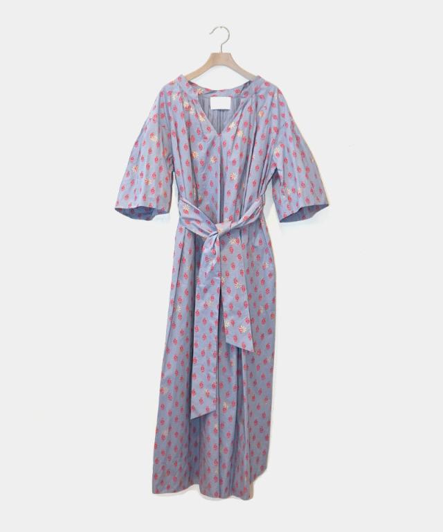 KALANCHOE BLOCK PRINT TUCK DRESS BLUE