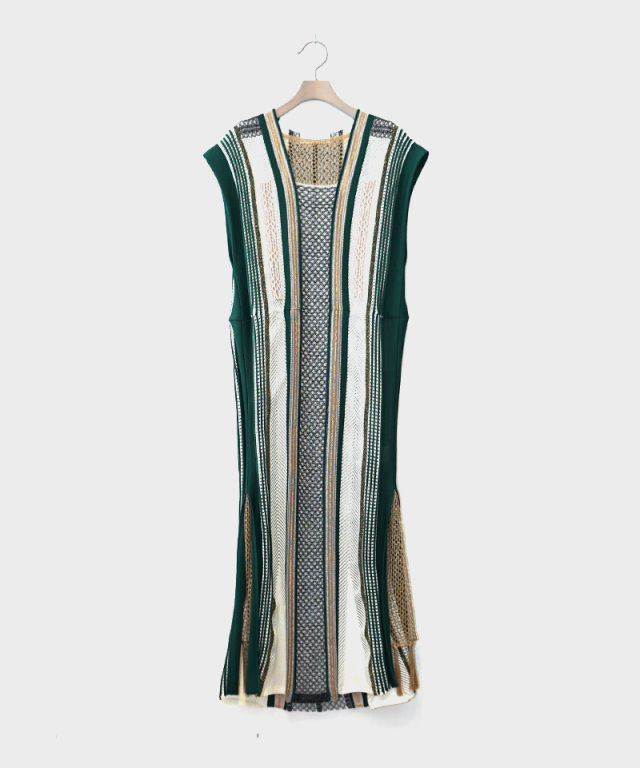 mame Net Stripe Knit Dress GREEN