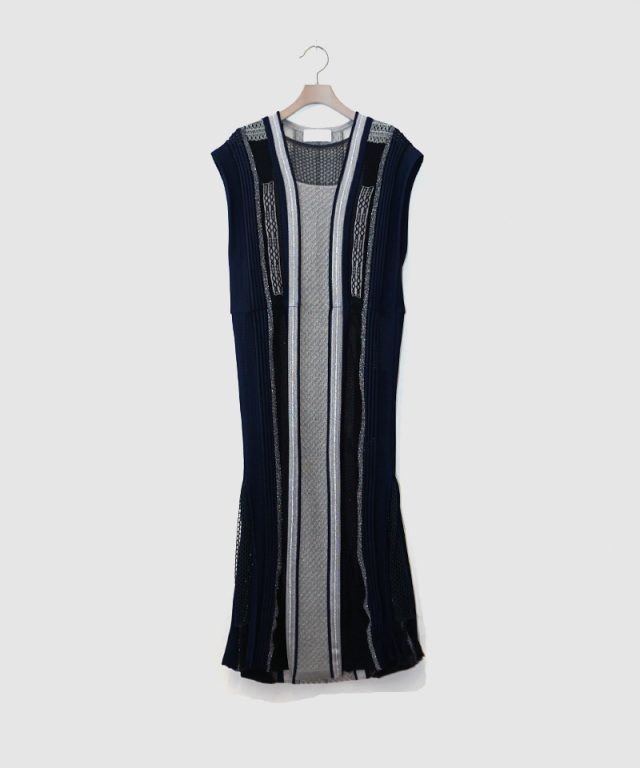 mame Net Stripe Knit Dress NAVY