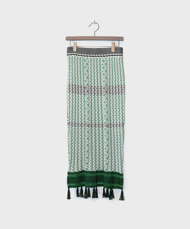 mame Rib Jacquard Pedicel Knit Skirt green