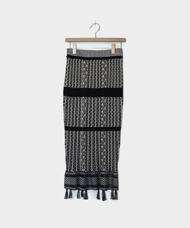 mame Rib Jacquard Pedicel Knit Skirt navy