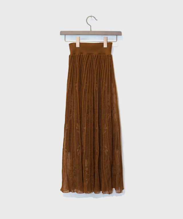 mame Pleated Knit Flared Skirt brown