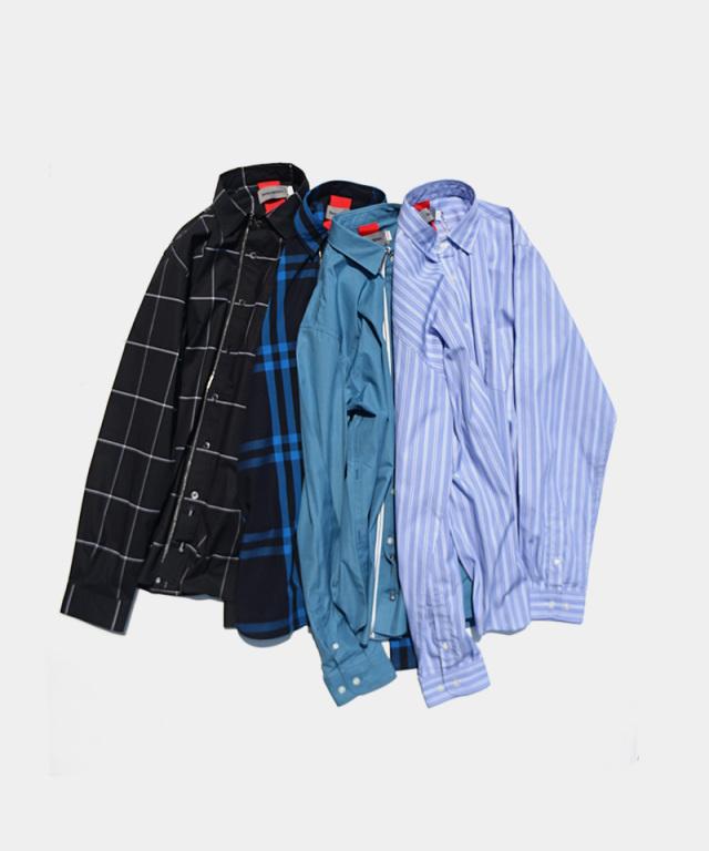 Beautilities Utility Zip Shirt Blue Pin Stripe