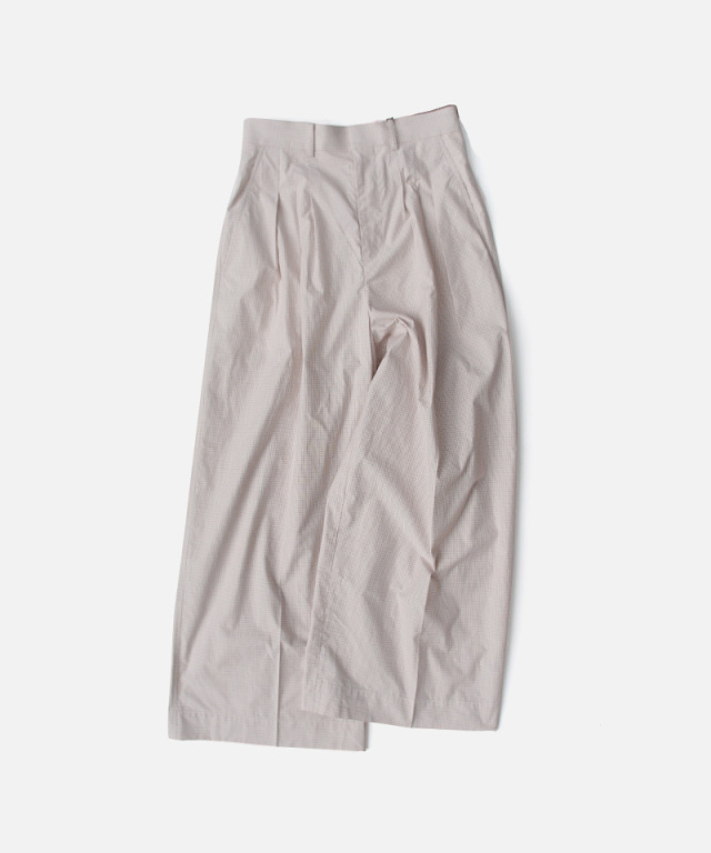 beautiful people ripstop check three tuck wide pants ivory