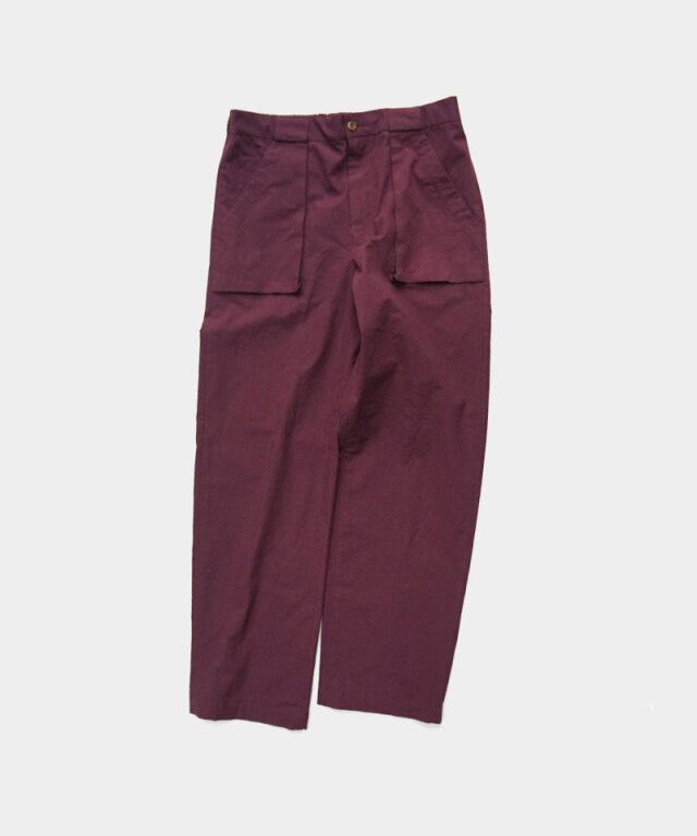 FRANK LEDER THIN COTTON TROUSERS WITH GUSSET POCKET BURGUNDY