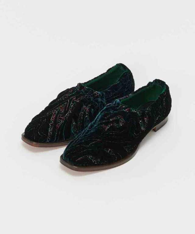 Hender Scheme square ballet velvet quilt deep green
