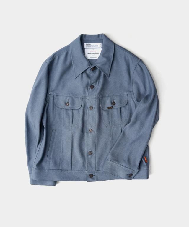 DAIRIKU Regular Polyester Jacket Teal Blue