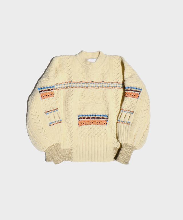 mame kurogouchi Oversized Chunky Knit Pullover WHITE