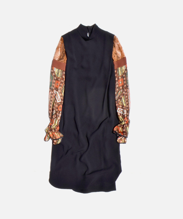 mame kurogouchi Stained Glass Ptrinted Sleeve Dress BROWN