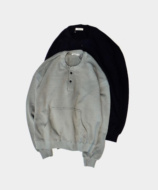 MATSUFUJI Henry Neck Sweat Shirt BLK