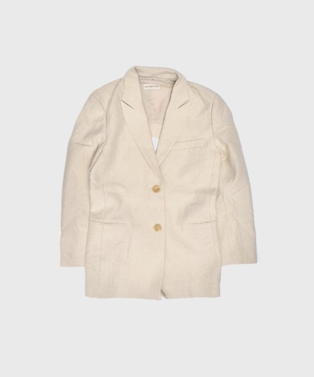 ERiKO KATORi Linen Wool Back Open Jacet