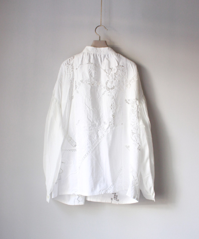 MALION vintage front tack gawze blouse WHT/typeA