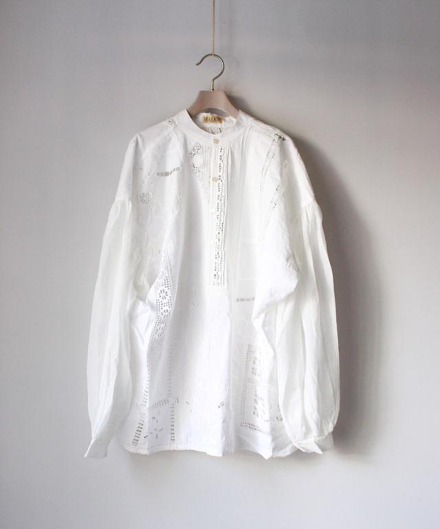 MALION vintage front tack gawze blouse WHT/typeB