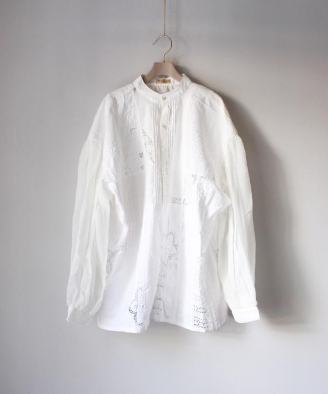 MALION vintage front tack gawze blouse WHT/typeC